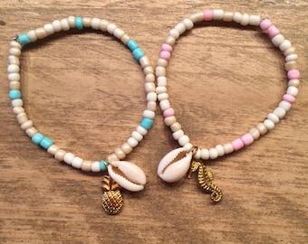 Kauri bracelet - pineapple - seahorse - blue or pink