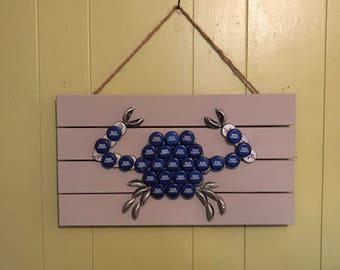 Blue crab | blue bottle top crab | crab wall art | bottle top crab |