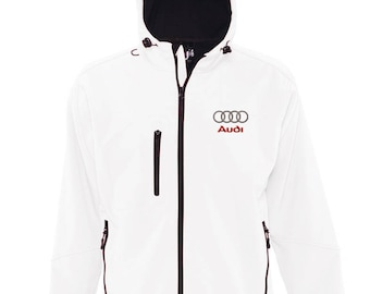 Audi Embroided Replay Hooded Soft Shell Jacket Coat Winter White Storm Waterproof