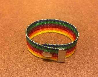 Gay Pride Rainbow Snap Bracelet