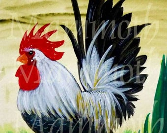 Rooster watercolor download 8 x 10 Bantam printable art print -Farmhouse wall decor -country kitchen decor- Chicken digital download