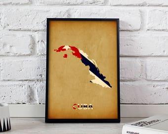 Cuba poster Cuba art Cuba Map poster Cuba print wall art Cuba wall decor Gift poster