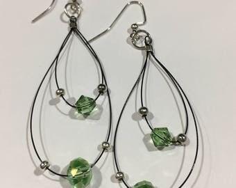 Peridot Crystal Rhinestone/ Flex Wire Earrings