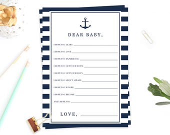 Nautical Baby Shower Games Baby Wishes Card Dear Baby Games Printable Baby Shower Games for Boy Baby Wishes Nautical Wishes for Baby Boy NS1