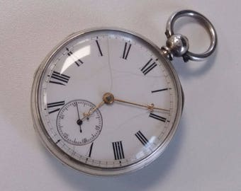 1865 Solid Sterling Silver Pocket Watch
