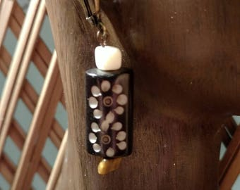 Floral, carved wood earrings