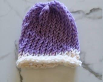 Newborn Baby Purple and Creme Beanie Hat