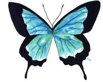 Blue Watercolor Butterfly Print