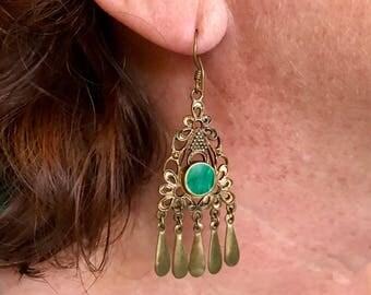 Beautiful Brass Earrings with green Malachite Stone