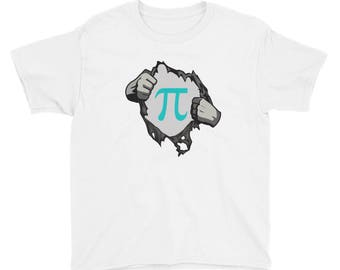 Pi Day Clothes Funny Math Nerd Superhero Comic Youth Short Sleeve T-Shirt