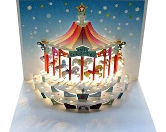 Laser Cut Pop Up Christmas Card,  Christmas Carousel, - POP97