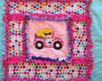 Colorful Valley Girl Embroidery Applique Minky Rag Quilt Baby Toddler