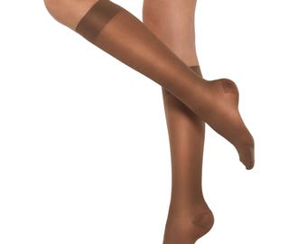 Healthweir Graduated Compression Knee High Tights 18-22mmHg - Sheer Hosiery Stockings for Travel Recovery Support Nursing and Pregnancy