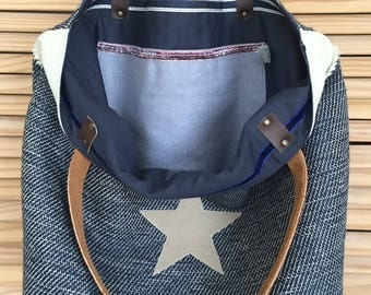 Blue reversible tote bag