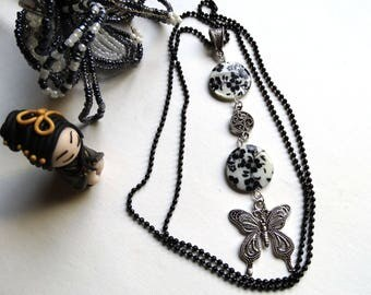 Black and white pendant necklace and a silver Butterfly - gift idea for woman