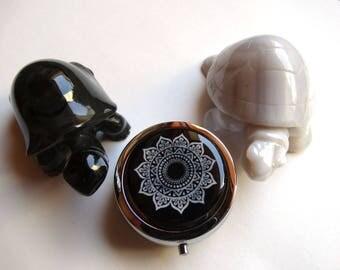 Cabochon silver pill box handcrafted Black Silver Rosette