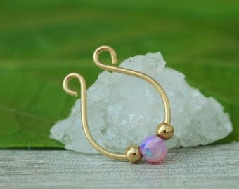 Fake Septum Ring,Opal Faux Septum,fake septum jewelry,fake septum gold,fake septum piercing,opal septum,opal fake piercing,clip on septum