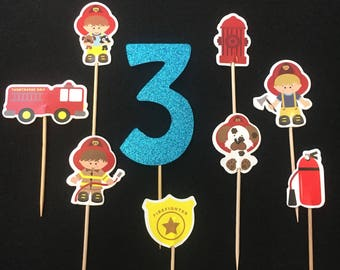 12 Pcs, Firemen Cupcake Toppers, Fire Truck Cupcake Toppers, Firemen Birthday Party, Hero Cupcake Toppers, Custom Birthday Toppers