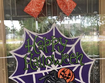 Happy Halloween door hanger, Spiderweb door hanger, spider door hanger, Halloween door decor
