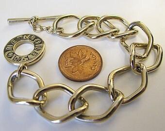 MONET Signature Gold Tone Curb Link Toggle Bracelet