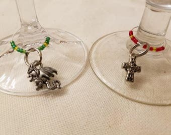 Hand beaded Wineglass Identifiers, charms for wine, colorful