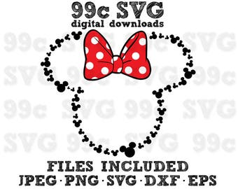 Minnie Mouse with Mickey Heads Outline SVG DXF Png Vector Cut File Cricut Design Silhouette Cameo Vinyl Decal Disney Heat Transfer Iron