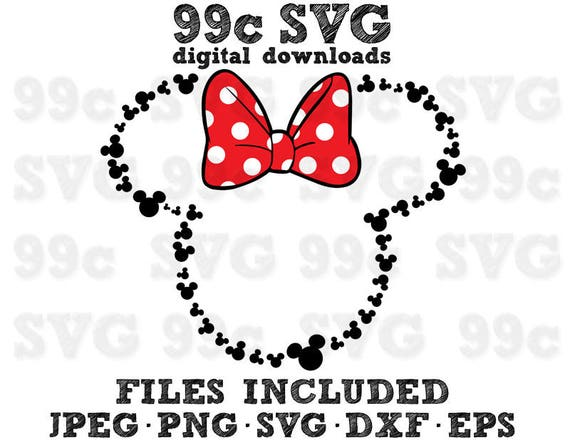 Minnie Mouse With Mickey Heads Outline Svg Dxf Png Vector