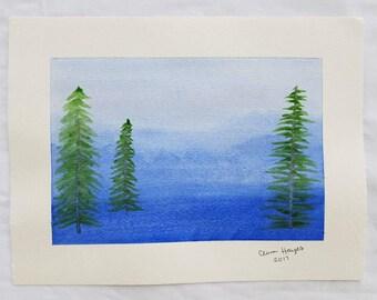 Crisp Mountain Air Watercolor Painting