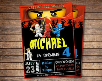 Ninjago / Ninjago Invitation / Ninjago Birthday Invitation / Ninjago Party / Lego Ninjago / Ninja / Lego Invitation / Ninjago Lego / Ninja