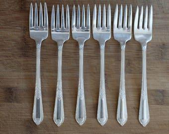 WM Rogers* Cotillion Silver Plated Dessert/Salad Forks - Set of 6
