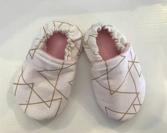 Gold and White Moccasins, size 12-18 months
