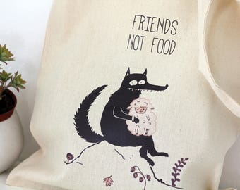 Tote bag, Animal quotes, Gift for her, Vegan gift, Funny tote bag, Market, School bag, wolf, sheep