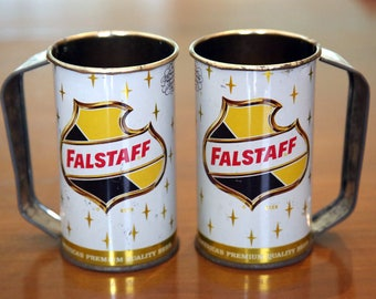 2 Vintage Falstaff Metal Handled Beer Mugs