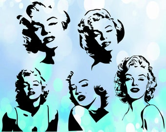 Marilyn Monroe  - Cutting Files and Clipart Svg Png Eps Dxf JPG Digital Graphic Design Instant Download Commercial Use {(7)}