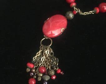 Red colored Pendant Necklace and Earring set with antique gold chain. FREE SHIPPING!