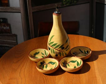 Olive Oil Dipping Bowls and Bottle