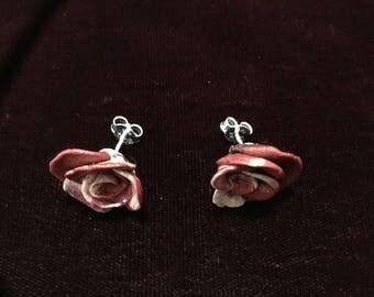Red/Pink Sprial Rose Earrings