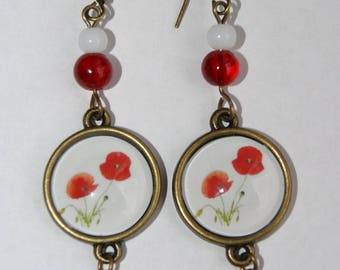 Earrings ' ears hanging cabochon 16 mm poppies