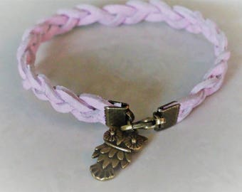 Antique faux suede braided pink with bronze OWL charm bracelet