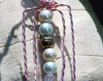 Pink Wire wrapped Pendant with Pearl Accents
