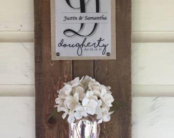 Personalized Mason jar vase and decor