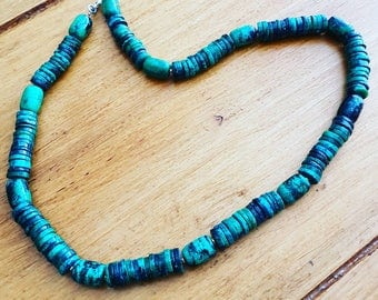 Quirky blue/green jasper discs necklace with silver clasp