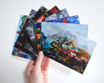 Gift for traveler Travel cards Watercolor cards set Set of 8 cards Painting postcards City card Original cards set Hippie cards