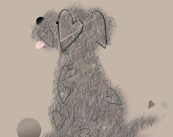 Again, Again - Cute Scruffy Dog Card (Blank Inside)