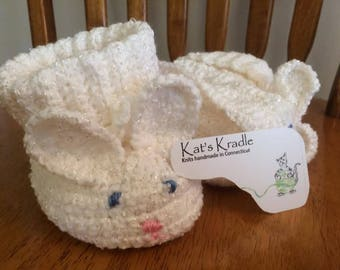 Crochet white infant bunny booties