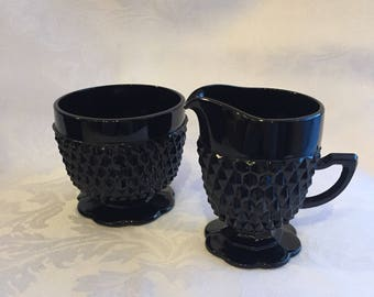 Vintage black milk glass sugar and creamer set