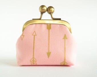 Coin Purse, Kisslock Purse, Clasp Coin Purse, Retro Coin Purse, Ear Buds Case, Earphone Holder, Jewelry Case in Metallic Arrows on Pink