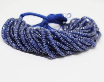 """16"""" 105 Carat BLUE SAPPHIRE Faceted Beads Strand 4-5 mm"""