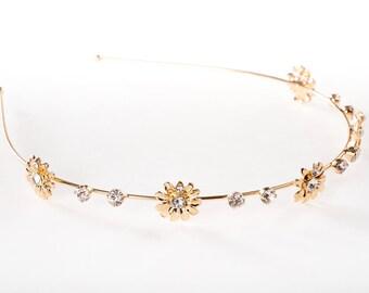 Flower girl headband,Crystal Headband,Flower girl hair tiara,Gold flowers headband, Tiara,wedding headbands,Bridesmaid gift,Flower girl gift