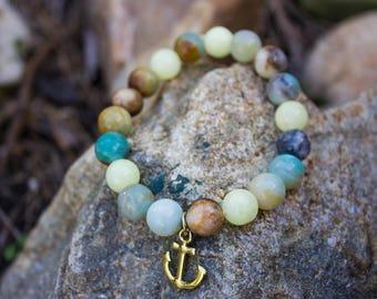 Blue Brown Marble Pattern Glass Bead Boho Style Trendy Fashion Bracelet Sea Anchor Beach
